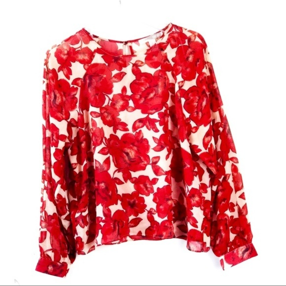 Forever 21 Tops - Rose Floral Sheer Blouse Red and Cream / Beige
